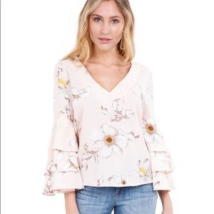 REVOLVE | J.O.A. Blush Floral Ruffle Sleeve Blouse